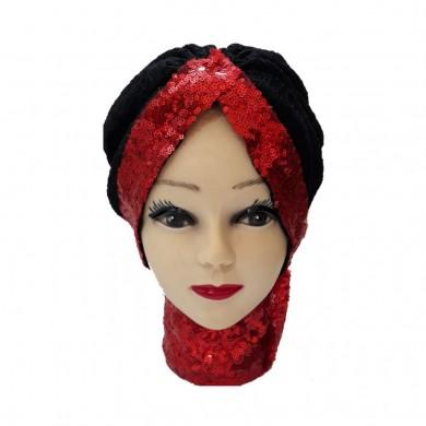 کلاه حجاب توری پفکی و پولک دوزی لبه قرمز 1023 (توربان)