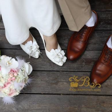 کفش عروس سفید گلدار 2501