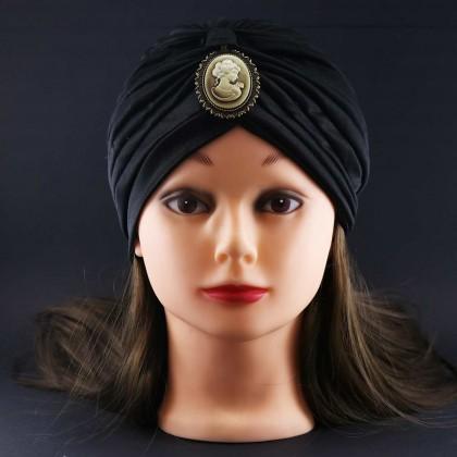 کلاه حجاب کالاندولا مشکی با سنگ (توربان)