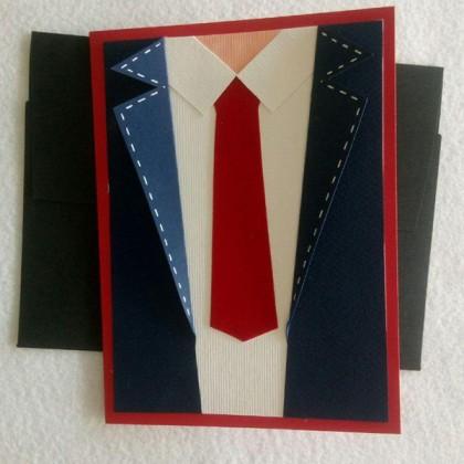 کارت پستال کروات ساده قرمز