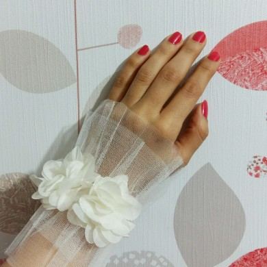 مچ بند گل و تور ساده عروس