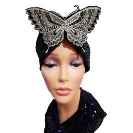 کلاه حجاب لمه کشی اپلیکه پروانه مشکی و طلایی گلدوزی 2005 (توربان)