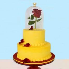 کیک سفارشی 2 طبقه گل رز