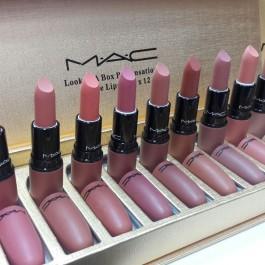 ست رژ لب مخلمی 12 رنگ مک Mac