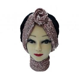 کلاه حجاب توری پفکی و پولک دوزی 1020 (توربان)
