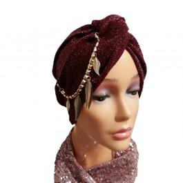 کلاه حجاب لمه کشی ریسه نگینی آویز دار 2011 (توربان)