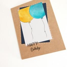 کارت پستال بادکنک زرد و آبی تولدت مبارک Happy Birthday