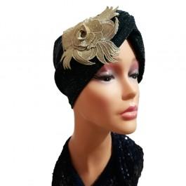 کلاه حجاب لمه کشی اپلیکه طلایی 2006 (توربان)