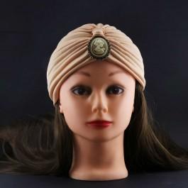 کلاه حجاب کرم با سنگ (توربان)