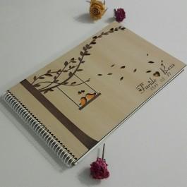آلبوم یادبود چوبی عروسی گنجشک