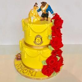 کیک سفارشی 2 طبقه دیو و دلبر گل