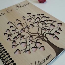 آلبوم یادبود چوبی عروسی درخت