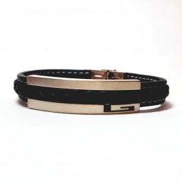 دستبند مردانه استیل و چرم مونت بلانک Mont Blanc E120