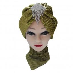 کلاه حجاب ساتن کش طرح دار 1016 (توربان)