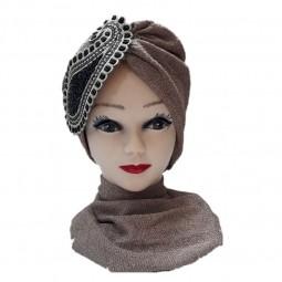 کلاه حجاب لمه شنی جواهردوزی تکه ای 1028 (توربان)