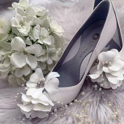 کفش عروس سفید گلدار 2506