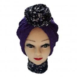 کلاه حجاب نخی پفکی طرح دار 1004 (توربان)
