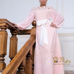 لباس مجلسی زنانه کرپ و گیپور 3002