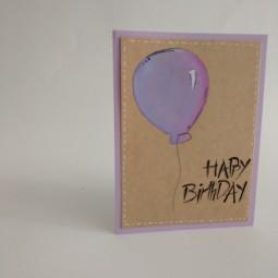 کارت پستال بادکنک بنفش تولدت مبارک Happy Birthday
