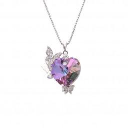 گردنبند زنانه قلب و پروانه سواروفسکی Swarovski N1001