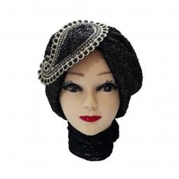 کلاه حجاب گیپور جواهر دوزی تکه ای 1034 (توربان)