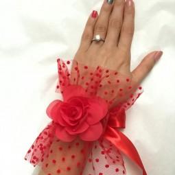 مچ بند گل و تور خالدار عروس