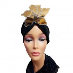 کلاه حجاب لمه کشی اپلیکه فابریکت نگین دار 2004 (توربان)