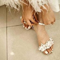 کفش عروس سفید گلدار 2503