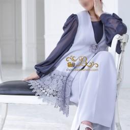 لباس مجلسی زنانه کرپ و حریر و گیپور 3004