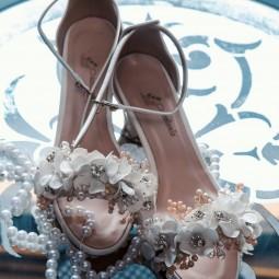 کفش عروس سفید گلدار 2505