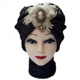 کلاه حجاب توری پفکی آویزدار 1030 (توربان)