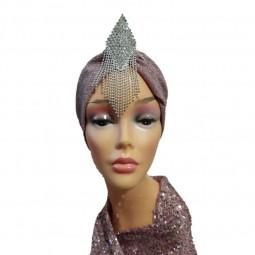 کلاه حجاب لمه کشی تگ الماسی آویز دار 2008 (توربان)