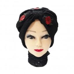 کلاه حجاب توری پفکی گلزار 1024B (توربان)